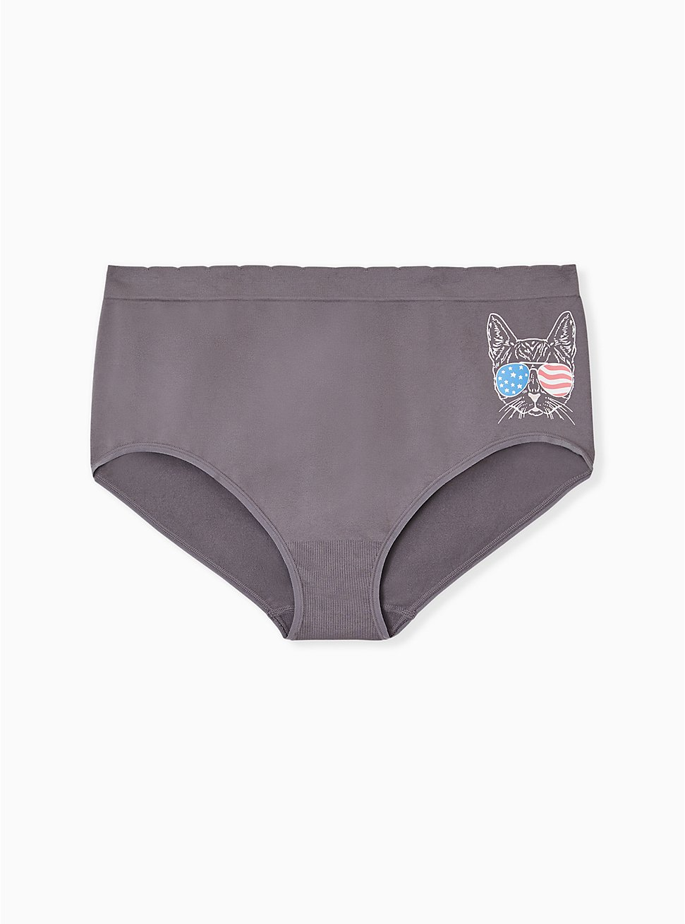 Plus Size Grey American Cat Seamless Brief Panty , AMERICANA KITTY- BLACK, hi-res