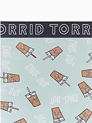 Torrid Logo Mint Blue Coffee Print Cotton Thong Panty, COFFEE BREAK- MINT, alternate
