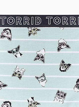 Torrid Logo Mint Blue Pups & Stripe Cotton Brief Panty, PUPS IN THE SUN, alternate