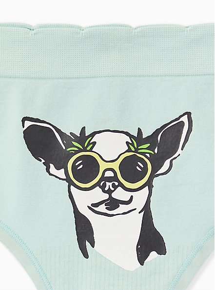 Mint Blue Sunglasses Pup Seamless Thong Panty, BEACH PLEASE DOG ONLY- MINT, alternate