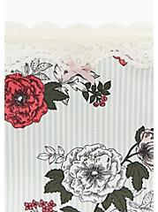 Mint Blue Stripe & Floral Wide Lace Cotton Boyshort Panty, STRIPED FLORALS-WHITE, alternate