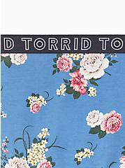 Plus Size Torrid Logo Blue Floral Cotton Hipster Panty, ROSE STRIPE FLORAL- BLUE, alternate