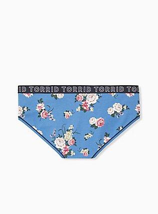 Torrid Logo Blue Floral Cotton Hipster Panty, ROSE STRIPE FLORAL- BLUE, alternate