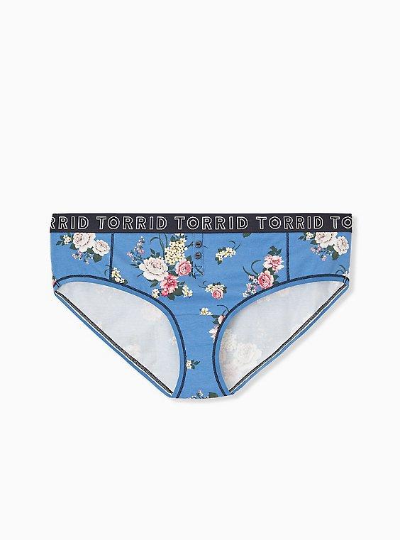 Torrid Logo Blue Floral Cotton Hipster Panty, , hi-res