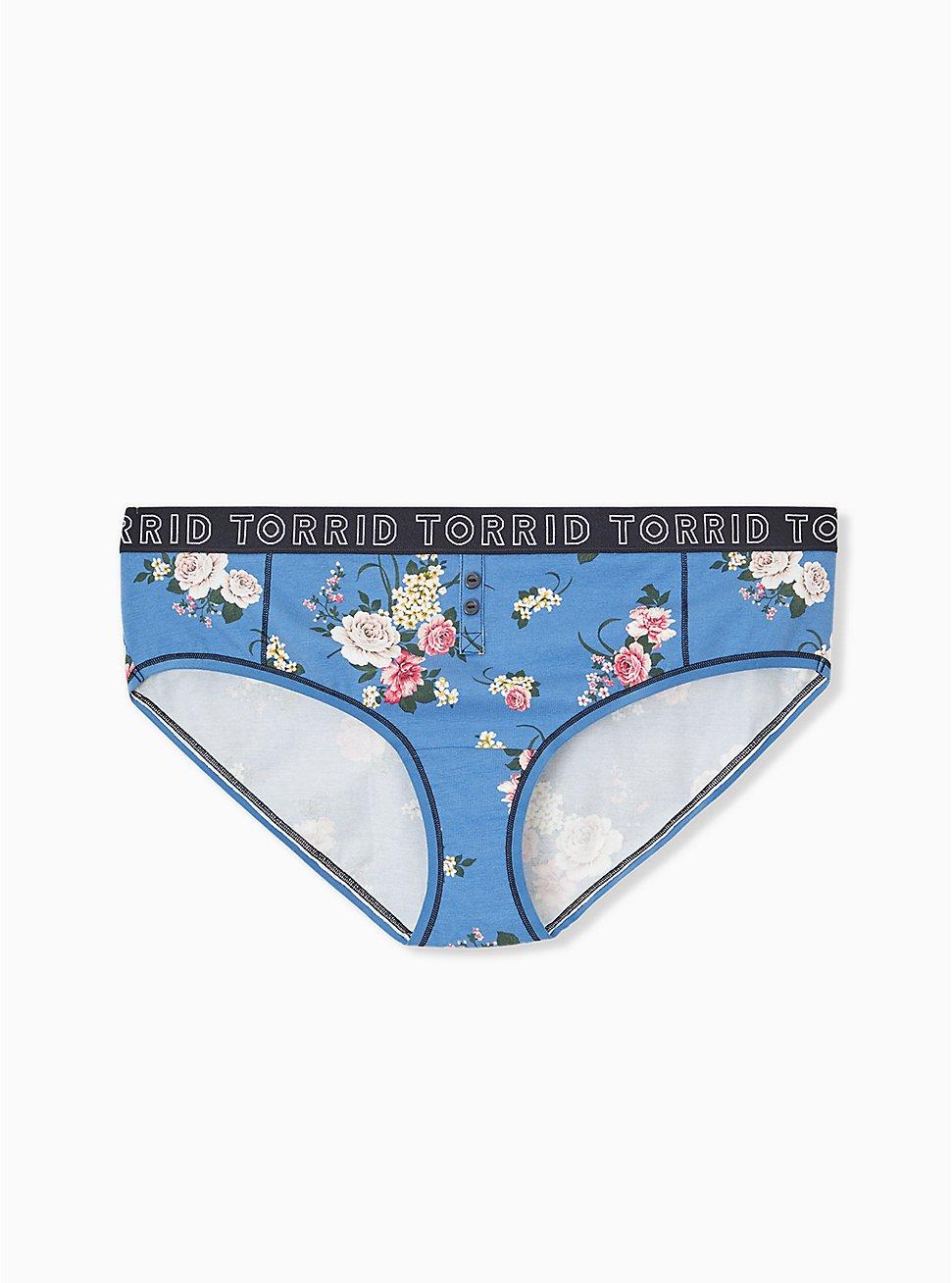 Plus Size Torrid Logo Blue Floral Cotton Hipster Panty, ROSE STRIPE FLORAL- BLUE, hi-res