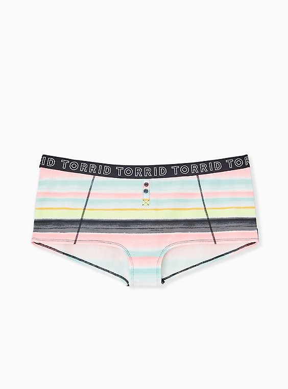 Plus Size Torrid Logo Pastel Stripe Cotton Boyshort Panty, , hi-res