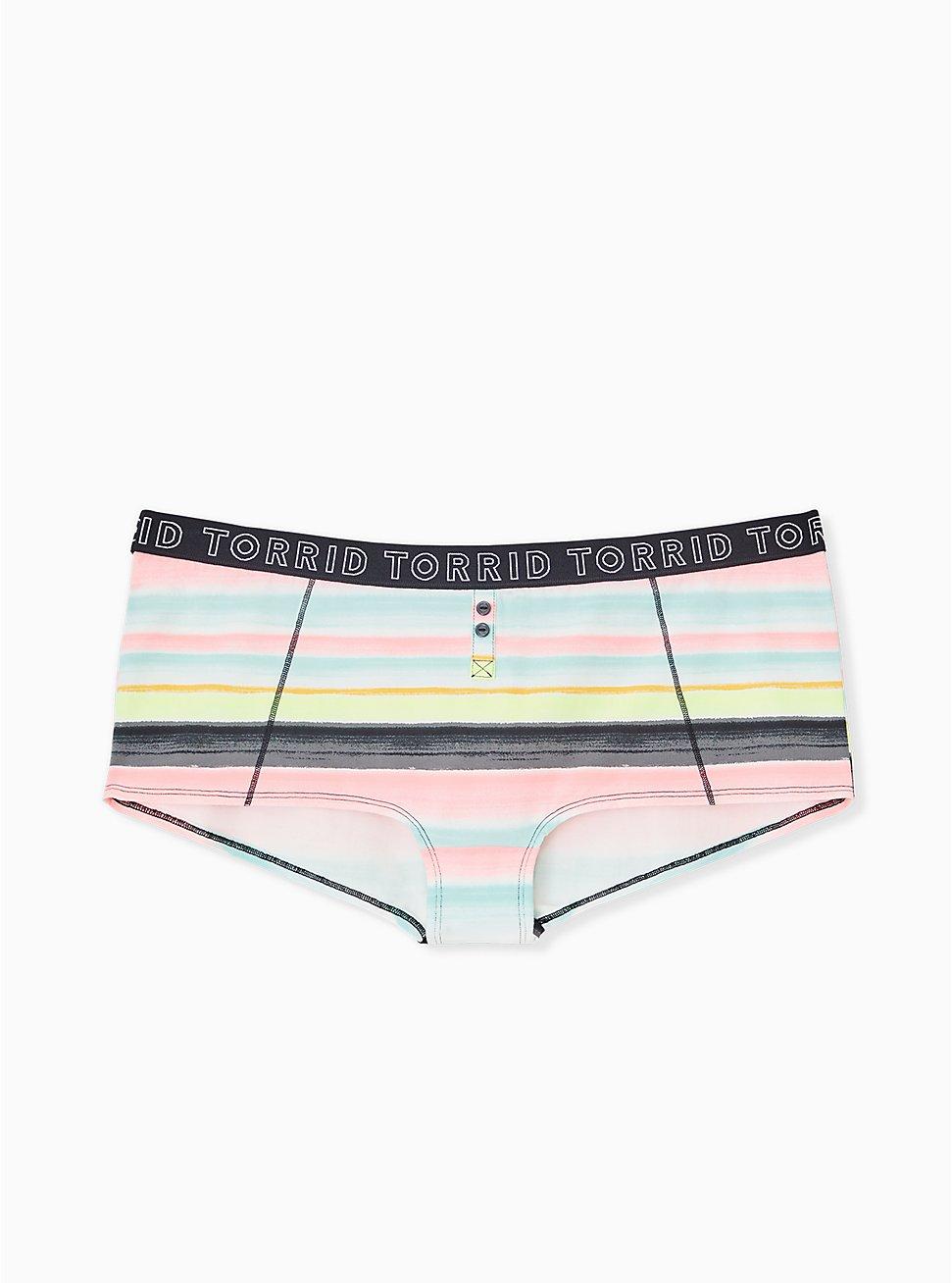 Torrid Logo Pastel Stripe Cotton Boyshort Panty, STRIPED WASH- MINT, hi-res