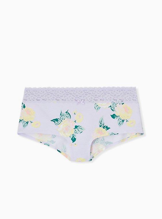 Plus Size Lilac Purple Floral Wide Lace Cotton Boyshort Panty, , hi-res