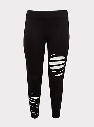 Premium Legging - Slashed Black, BLACK, flat