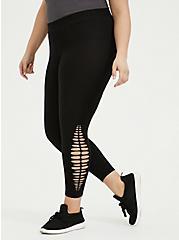 Crop Premium Legging - Side Slash Black, BLACK, hi-res