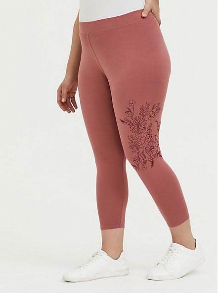 Crop Premium Legging - Embroidery Dusty Rose, WITHERED ROSE PINK, alternate