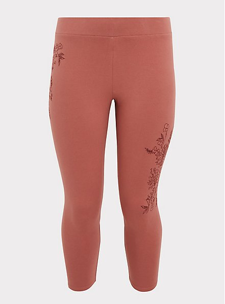 Crop Premium Legging - Embroidery Dusty Rose, WITHERED ROSE PINK, hi-res