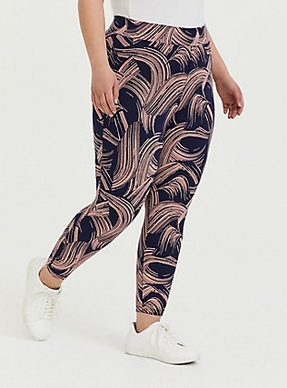 Crop Premium Legging - Brushstroke Pink & Navy, BRUSHSTROKE - MULTI, alternate