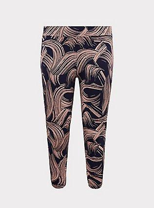 Crop Premium Legging - Brushstroke Pink & Navy, BRUSHSTROKE - MULTI, flat