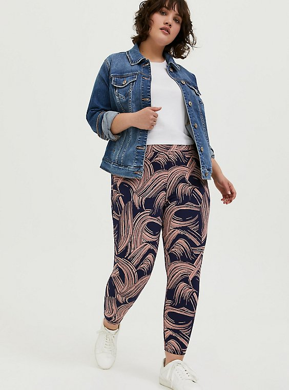 Crop Premium Legging - Brushstroke Pink & Navy, , hi-res