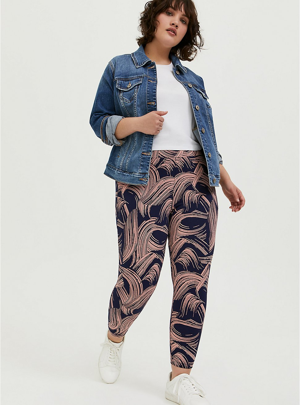 Crop Premium Legging - Brushstroke Pink & Navy, BRUSHSTROKE - MULTI, hi-res