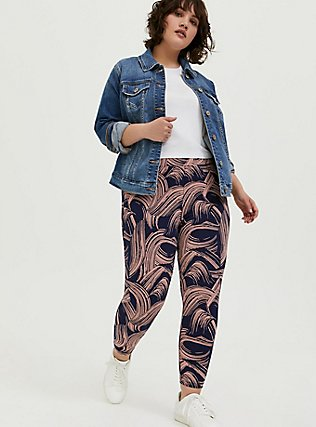 Crop Premium Legging - Brushstroke Pink & Navy, BRUSHSTROKE - MULTI, hi-res