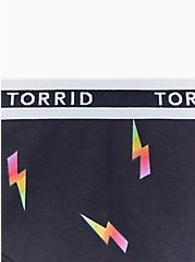 Torrid Logo Black & Rainbow Bolt Cotton Thong Panty, CMYK LIGHTNING- BLACK, alternate