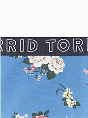 Torrid Logo Blue Floral Cotton Thong Panty, ROSE STRIPE FLORAL- BLUE, alternate
