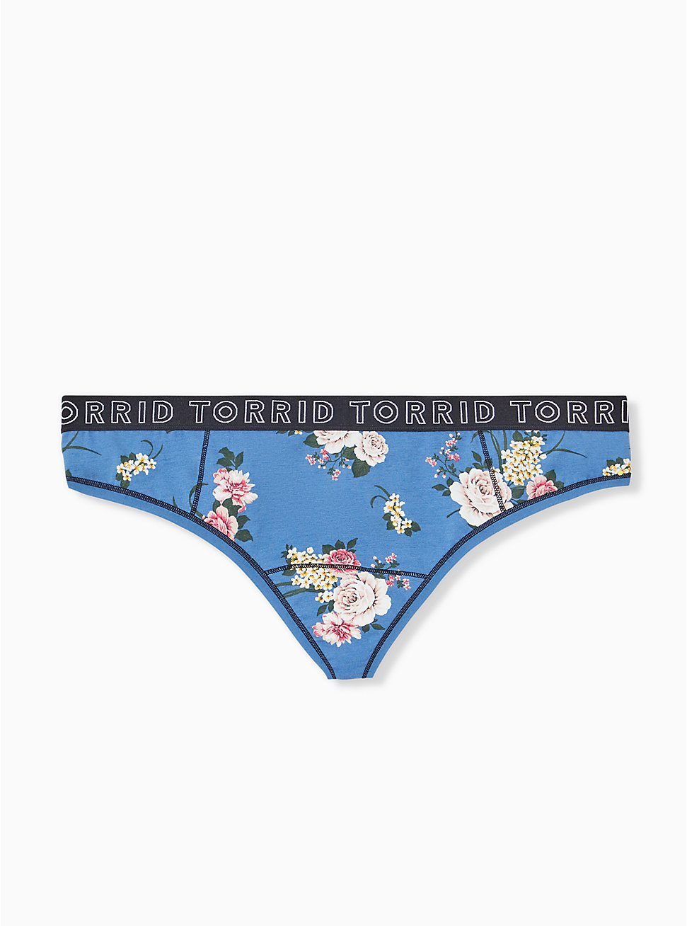 Torrid Logo Blue Floral Cotton Thong Panty, ROSE STRIPE FLORAL- BLUE, hi-res