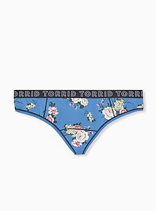Torrid Logo Blue Floral Cotton Thong Panty, ROSE STRIPE FLORAL- BLUE, hi-res