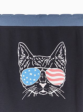 Black & Blue American Cat Seamless Hipster Panty , AMERICANA KITTY- BLACK, alternate