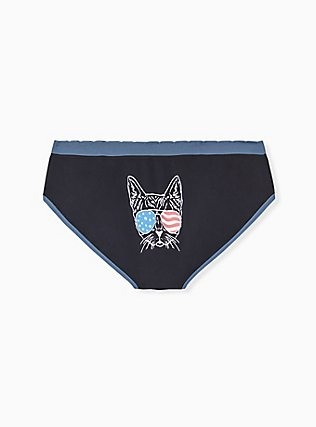 Black & Blue American Cat Seamless Hipster Panty , AMERICANA KITTY- BLACK, hi-res