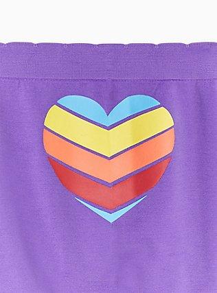 Purple & Rainbow Pride Heart Seamless Boyshort Panty, CHEVRON HEART- PURPLE, alternate