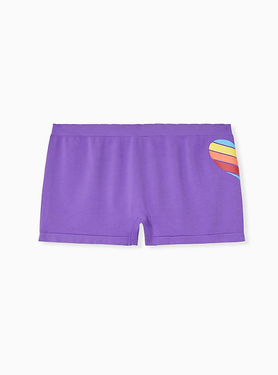 Plus Size Purple & Rainbow Pride Heart Seamless Boyshort Panty, , hi-res
