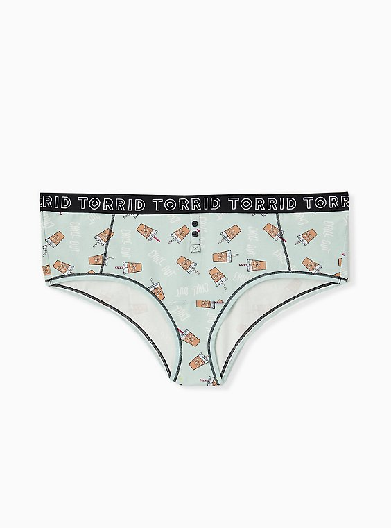 Plus Size Torrid Logo Mint Blue Coffee Print Cotton Cheeky Panty, , hi-res