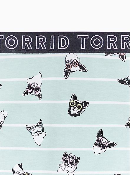 Torrid Logo Mint Blue Pups & Stripe Cotton Cheeky Panty, PUPS IN THE SUN, alternate