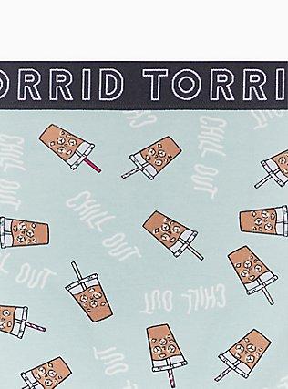 Torrid Logo Mint Blue Coffee Print Cotton Hipster Panty, COFFEE BREAK- MINT, alternate