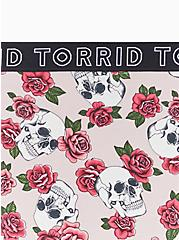 Torrid Logo Light Pink Skull Floral Cotton Hipster Panty, SKULLS AND ROSES, alternate