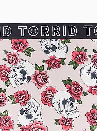 Torrid Logo Light Pink Skull Floral Cotton Hipster Panty, SKULLS AND ROSES, alternate