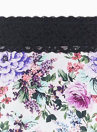 White Floral & Black Wide Lace Cotton Boyshort Panty, MULTI FLORAL BORDER- WHITE, alternate