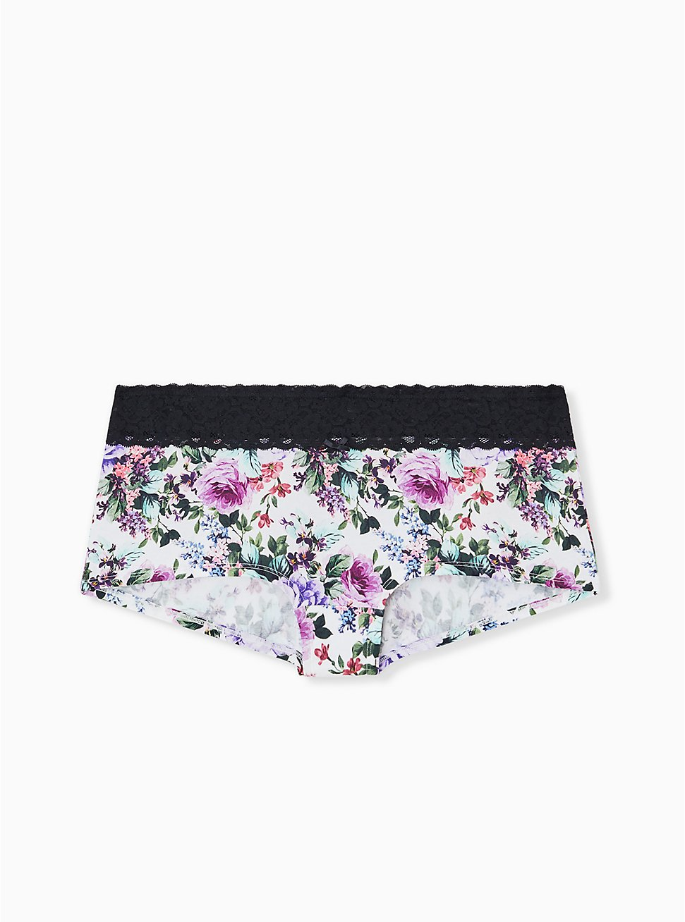 White Floral & Black Wide Lace Cotton Boyshort Panty, MULTI FLORAL BORDER- WHITE, hi-res