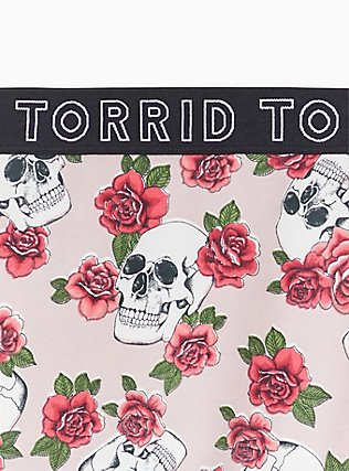 Torrid Logo Light Pink Skull Floral Cotton Boyshort Panty , SKULLS AND ROSES, alternate