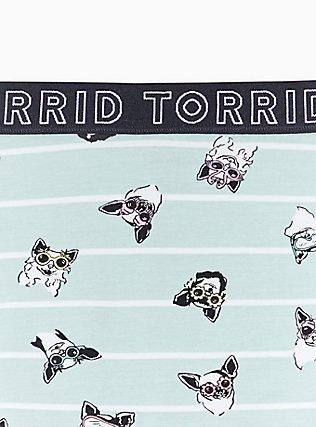 Torrid Logo Mint Blue Pups & Stripe Cotton Boyshort Panty, PUPS IN THE SUN, alternate
