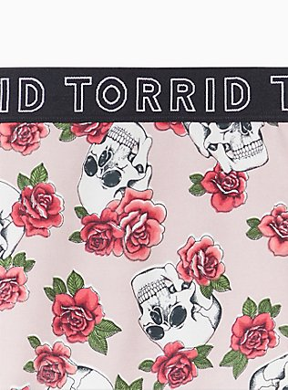Torrid Logo Light Pink Skull Floral Cotton Thong Panty , SKULLS AND ROSES, alternate