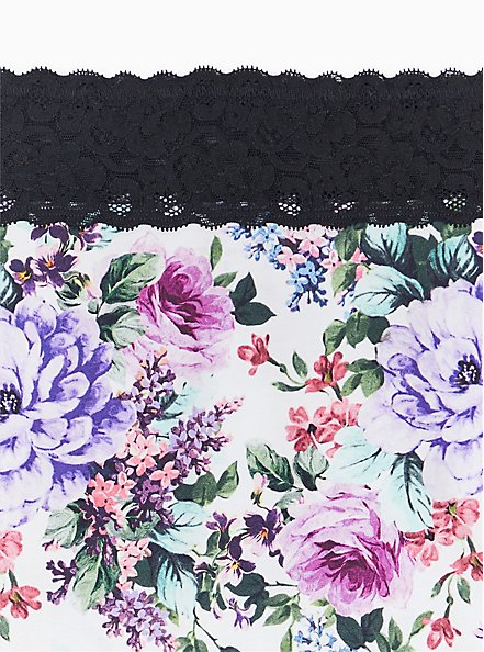 Plus Size White Floral & Black Wide Lace Cotton Brief Panty , MULTI FLORAL BORDER- WHITE, alternate