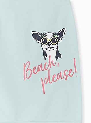 Plus Size Beach Please Puppy Mint Blue Seamless Boyshort Panty , BEACH PLEASE DOG ONLY- MINT, alternate