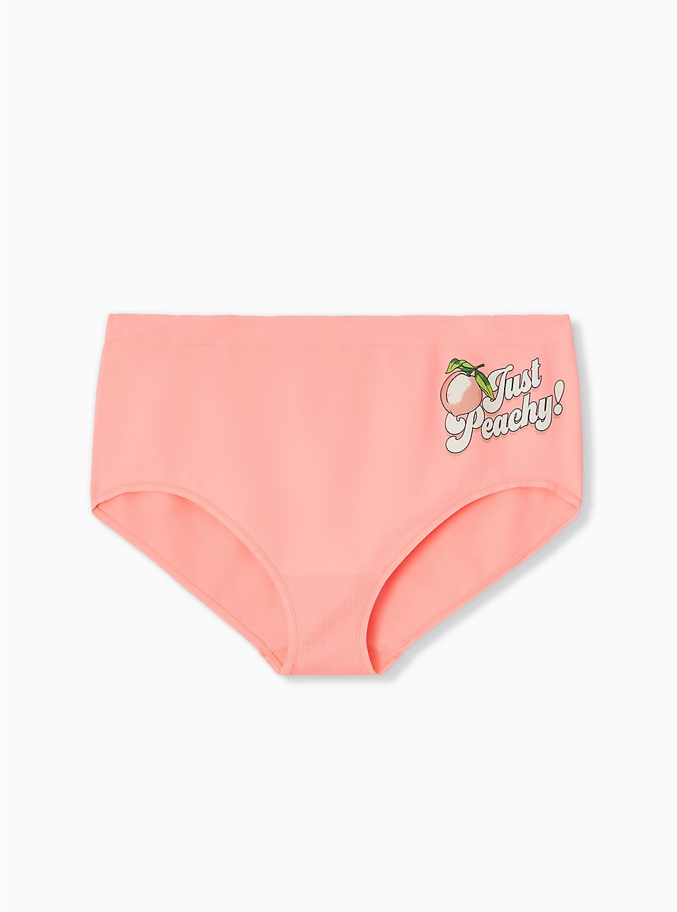 Plus Size Just Peachy Peach Pink Seamless Brief Panty, JUST PEACHY, hi-res