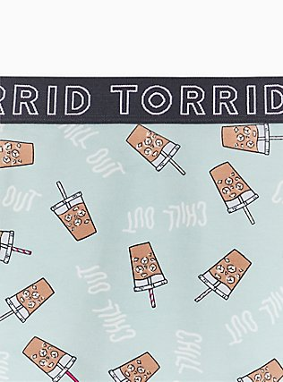 Torrid Logo Mint Blue Coffee Print Cotton Boyshort Panty, COFFEE BREAK- MINT, alternate