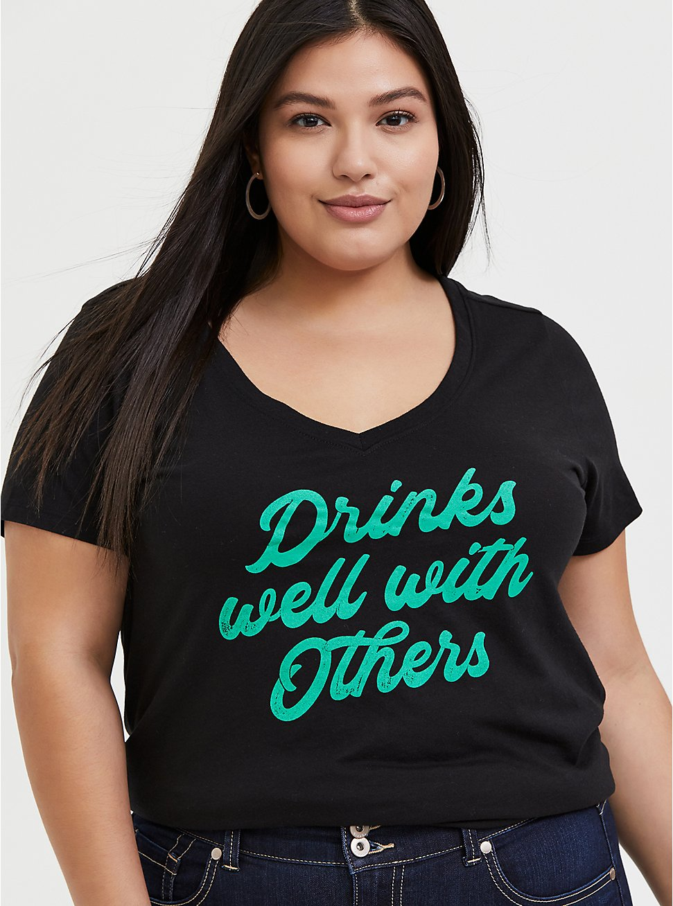 Plus Size Drinks Well With Others Black V-Neck Tee, DEEP BLACK, hi-res