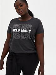 Self Made Charcoal Grey Triblend Jersey Crew Tee, CHARCOAL HEATHER, hi-res