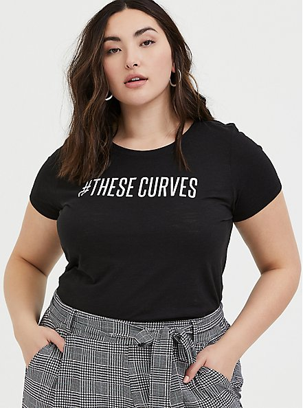 #TheseCurves Slim Fit Crew Tee - Black, DEEP BLACK, hi-res