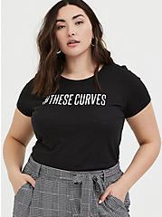 Plus Size #TheseCurves Slim Fit Crew Tee - Black, DEEP BLACK, hi-res