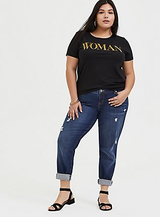 Woman Gold Glitter & Black Crew Tee, DEEP BLACK, alternate