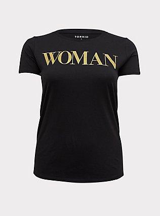 Plus Size Woman Gold Glitter & Black Crew Tee, DEEP BLACK, flat