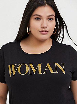 Woman Gold Glitter & Black Crew Tee, DEEP BLACK, hi-res